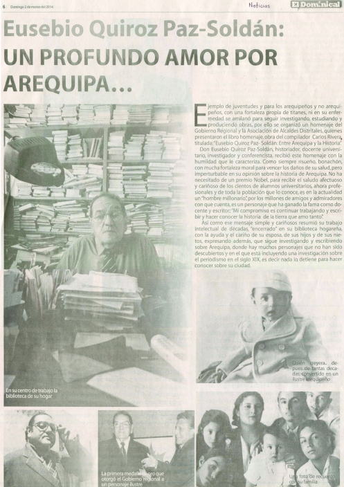 Eusebio Quiróz Un profundo amor por Arequipa