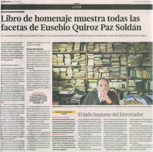Libro Homenaje muestra las facetas de Eusebio Quiroz Paz Soldán