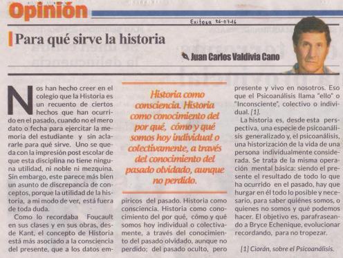 Para qué sirve la historia, Juan Carlos Valdivia Cano
